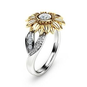 Sunflower 925 Silver Ring Women Men 138 Ct White Topaz Wedding Ring