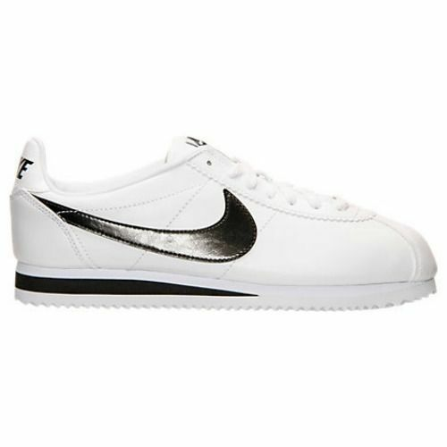 NIKE Wmn Cortez  Classic Leather Casual Shoes  WHITE Black Comfortable best-selling model of the brand