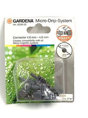 """4.6mm Pack of 10 Gardena MICRO DRIP Hose Pipe T Joint Connector 3//16/"""""""