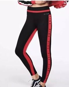 7f751ae71710d Details about NEW Victoria's Secret PINK ULTIMATE COLORBLOCK HIGH WAISTED  Legging Black Red XS