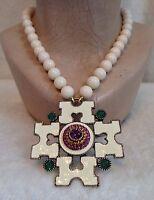 Heidi Daus White Cream Enamel Cross Necklace,