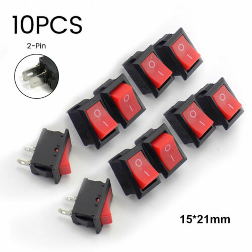 10Pcs DC 12V 2 Pin Car Boat Round Dot Light ON//OFF Red Rocker Toggle Switch Tool