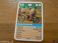 11 MOTO-CROSS 6A HONDA CR500 RE MX KWARTET KAART, QUARTETT CARD,SPIELKARTE