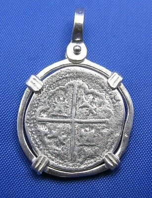 Sterling Silver SPANISH SHIPWRECK COIN PENDANT Piece of 8 Treasure Cobb Doubloon