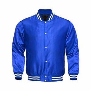Letterman-Baseball-College-Varsity-Bomber-Sports-Wear-Super-Jacket-Blue-Satin