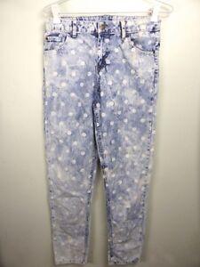 Cute-blue-white-polkadot-dot-print-Skinny-leg-ripped-distressed-Girl-039-s-jeans-14