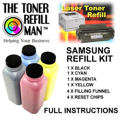 40g//Bottle,No Chips,4 Black Refill Color Laser Toner Powder Kits for Samsung CLP-325 CLP-3175 CLX-3175 CLX-3175FN CLX-3285 CLT407//409S Laser Printer Toner Powder