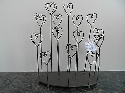 Shabby Vintage Chic Rustic Photo Picture Art Wire Metal Heart Holder Stand