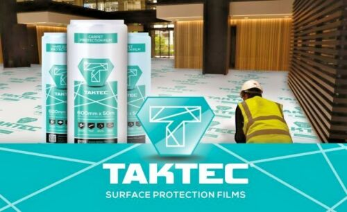 Taktec Carpet Flooring Protection Film 600mm x 50m Roll Spillages 60 Microns