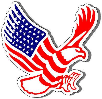 "(2) ""FLYING AMERICAN EAGLE-FLAG"" HELMET STICKERS - TOOLBOX, WINDSHEILD, HARD HAT"