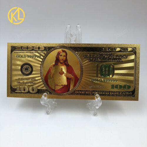 KL 10pcs New Design Jesus 100 US dollar Gold Plated Plastic money Banknote