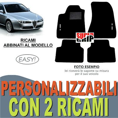 2 RICAMI EASY PER ALFA ROMEO GTV TAPPETI AUTO SU MISURA MOQUETTE FONDO GOMMA