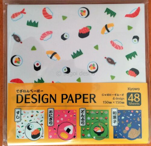 Diseño fresco japonés alimentos Chiyogami Origami Papel Hecha En Japón 48 Hojas Sushi