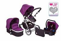 Black & Purple Carrera 3-in-1 Travel System/pushchair & Isofix Car Seat
