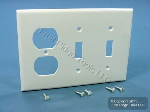 Leviton 80721 W White Unbreakable 3 Gang 1 Duplex 2 Toggle Switch Cover Plate