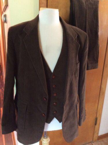Vtg Corduroy 3 Piece Suit Jacket Vest Pants Rare S