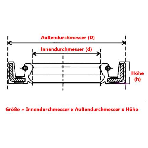 ID 40//42//45 mm TC//FB Skelett Öldichtung NBR Ringe Doppellippe für Rotationswelle