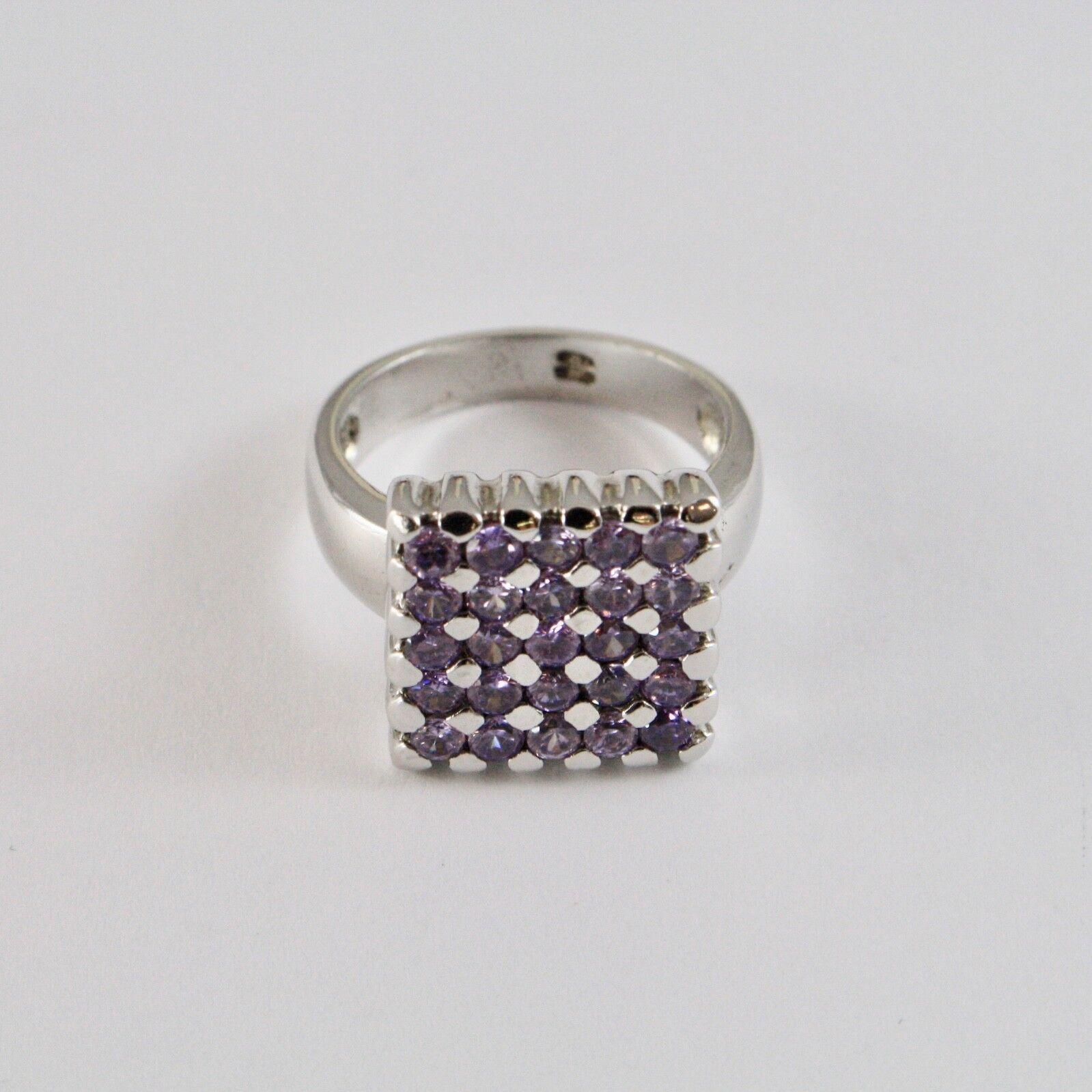 925 silver RING RHODIUM MIT QUADRAT MIT KRISTALLEN purple TRIMMEN RUND