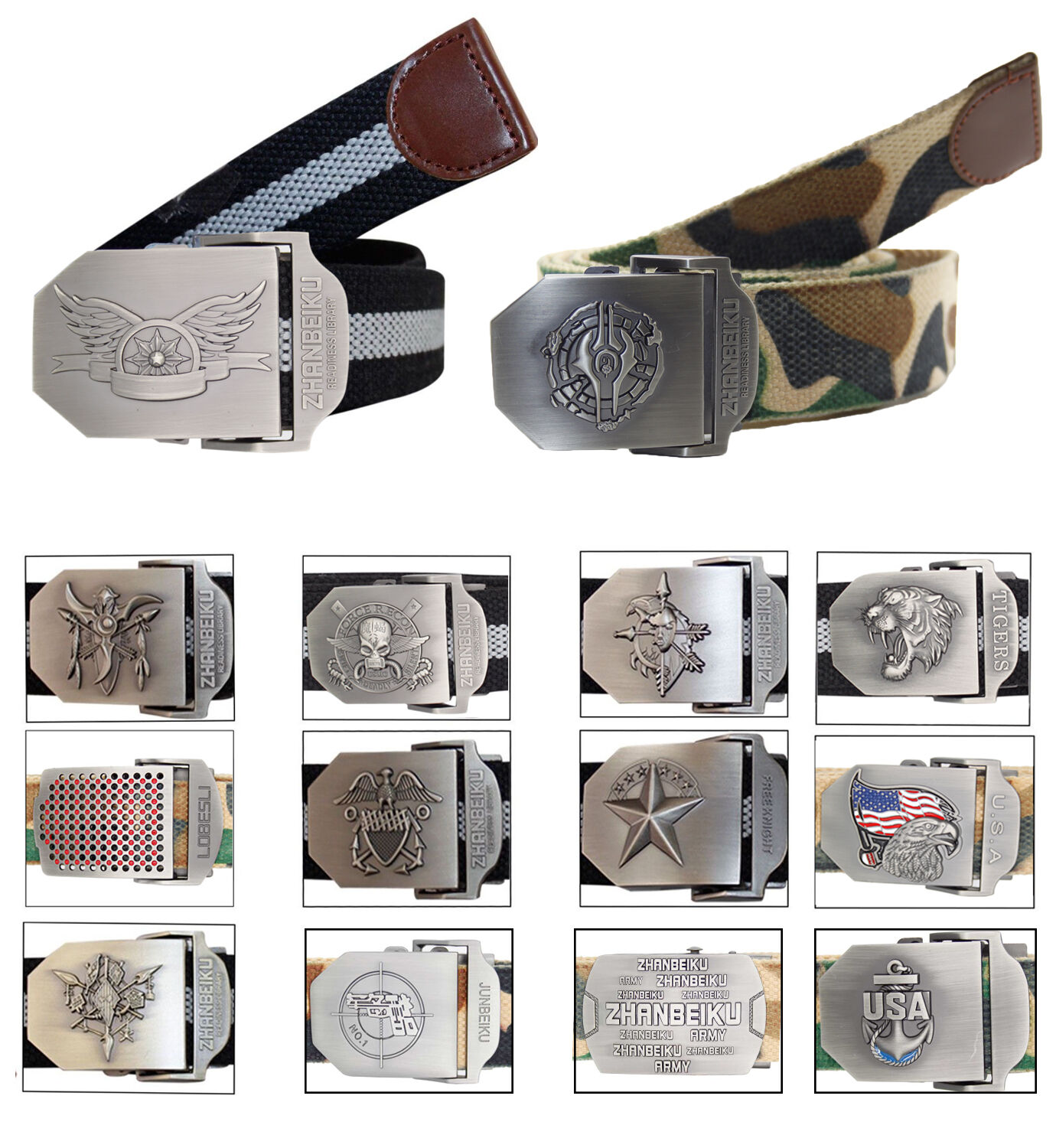 Details about New Mens Novelty Metal Buckle Heavy Canvas Casual Fashion Webbing Big Belts