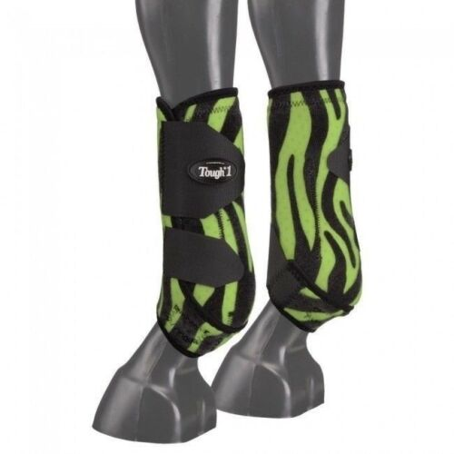 Tough-1 Green Zebra Extreme Vented Neoprene Large Front Sport Boots Horse Tack