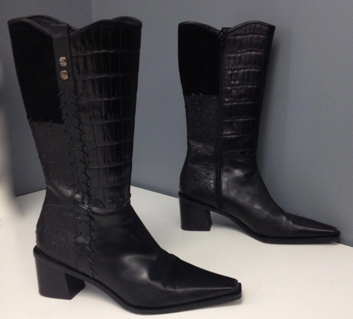 Stuart Weitzman textura de cuero negro Multi bloque bloque bloque Talón Cremallera lateral Bota Talla 9 B4298 9d5623