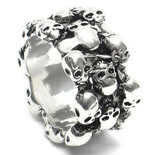 1Pc Men's Gothic Skull Finger Stainless Steel Punk Biker Knuckle Ring Perfect