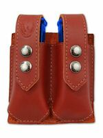 Barsony Burgundy Leather Double Magazine Pouch Steyr Walther Full Size 9mm