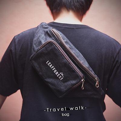 Two Zipper Travel walk Denim Jean Bum Bag Waist Bag Fanny Pack Cell Phone Pouch