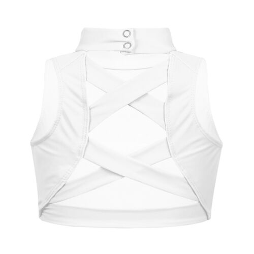 Girls Tank Crop Top Mock Neck Sports Bra with Strappy Back Criss Cross Straps