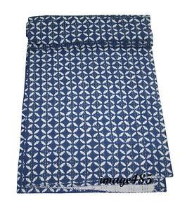 Indigo-Blue-Print-Kantha-Blanket-Reversible-Quilt-100-Bedspread-Organic-Cotton