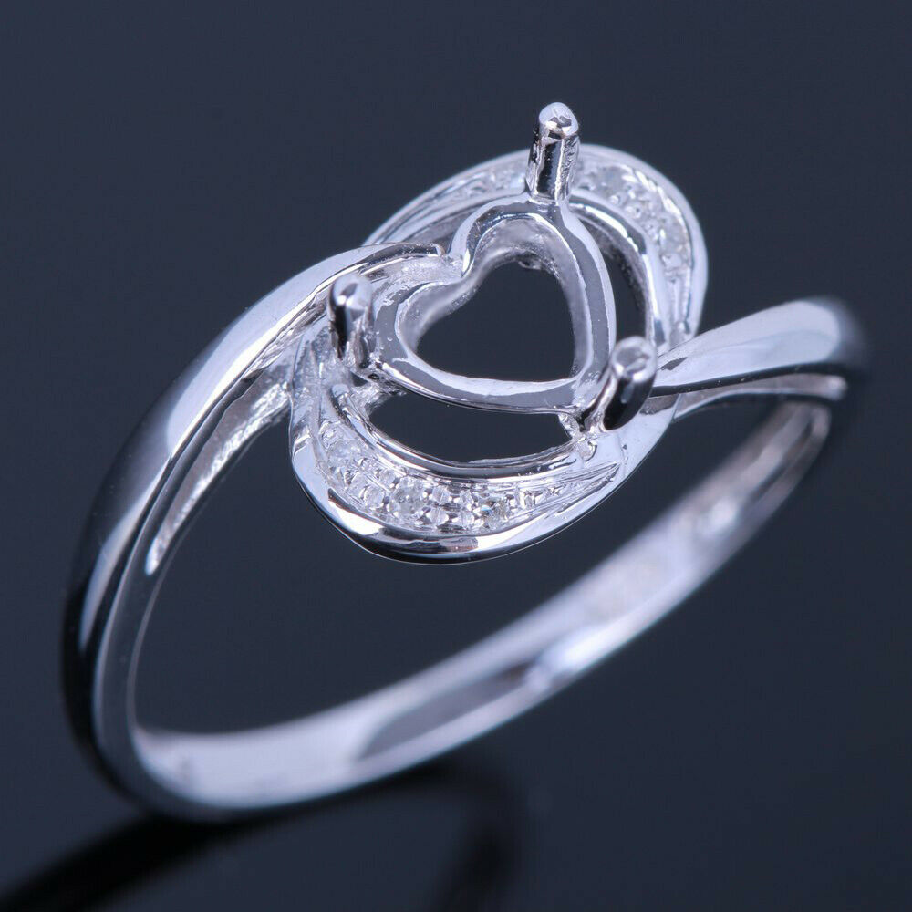 7x7mm Heart Pave Diamond Vintage Engagement Semi Mount Fine Ring 10K White gold