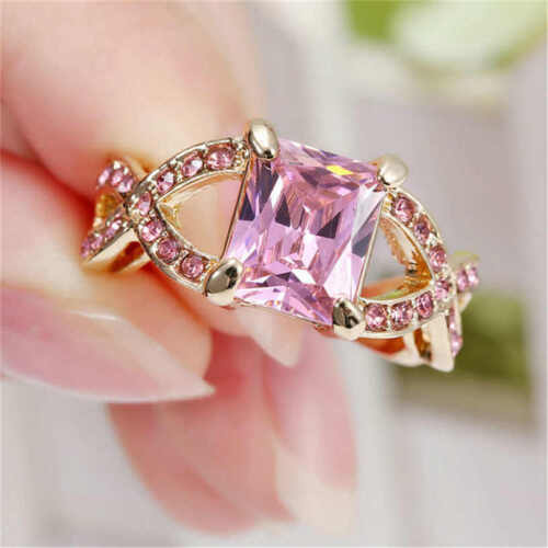 Size 8 Classic Pink CZ Sapphire Wedding Rings Women/'s 18Kt yellow Gold Filled