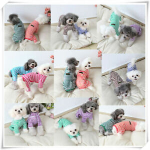 Pet-Autumn-Clothes-Teddy-Winter-Jumpsuit-Stripe-Dog-Puppy-Cat-Pajamas-Sleepwear