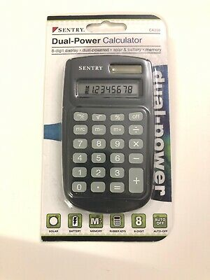 Sentry Dual-Power Calculator CA338 Eight-Digit Display and Memory Function