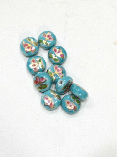 Beads Chinese Turquoise Flat Porcelain Beads 11mm