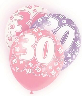 Age 30 Birthday | Pink | White Party Helium Quality Latex Balloons 4-30pk