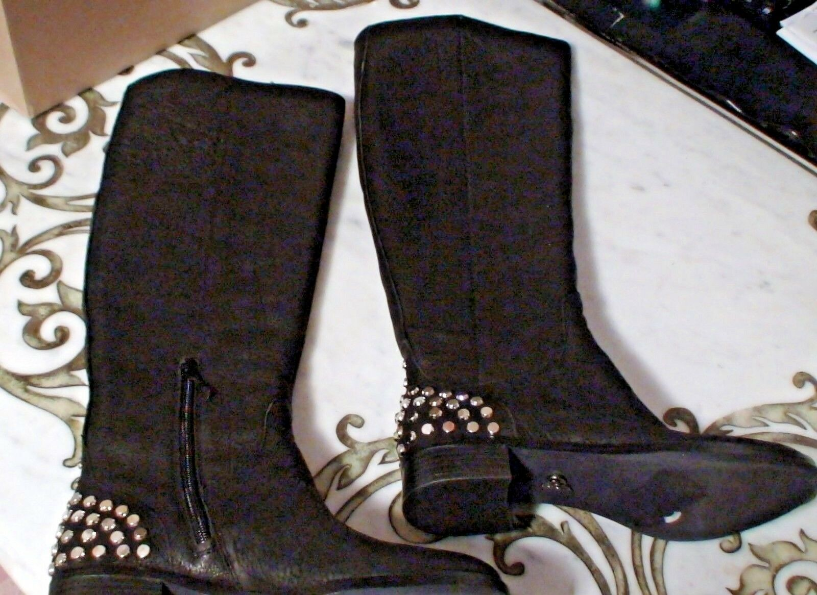Rachel Roy Rosmeri Women Black Leather Tall Studded Boots Stud Winter Shoes 6.5