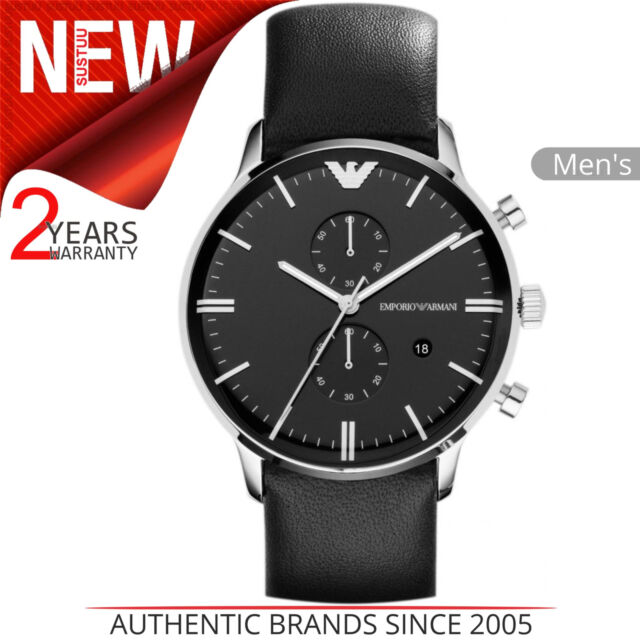Emporio Armani Classic Men s Watch│Black Chronograph Dial│Leather  Strap│AR0397 77df69bdd