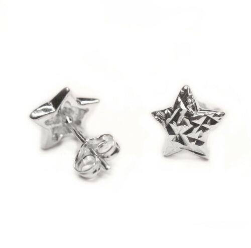 1 pair of 925 Sterling Silver Diamond Cut Star Stud Earring /& Butterfly Backs UK