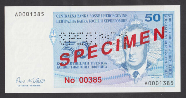 BOSNIA  50 Convertible Pfeniga ND1998 UNC  P57s  SPECIMEN banknote
