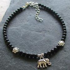 Negro Onyx piedras preciosas perlas pulsera encanto tobillera tobillo de elefante