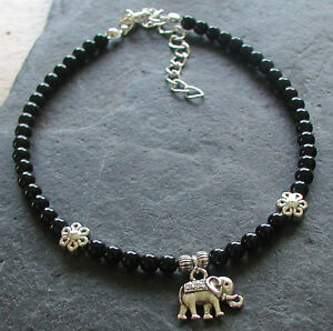 Black Onyx Gemstone Beads Elephant Charm Anklet Ankle Bracelet Jewelry & Watches