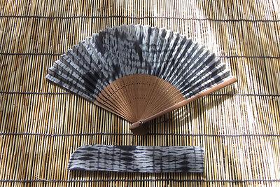 Japanese Shibori Tie Dye Kimono Hand Fan Sensu Fan Cotton & Bamboo NEW