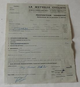 Détails Sur Lettre De Proposition Adhesion De La Mutuelle Cycliste 1955