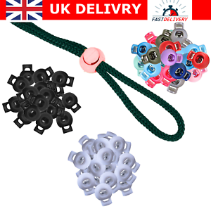 UK stock 20pc Round Toggles Cord Adjusters Cord Stopper Spring Loaded Cord locks