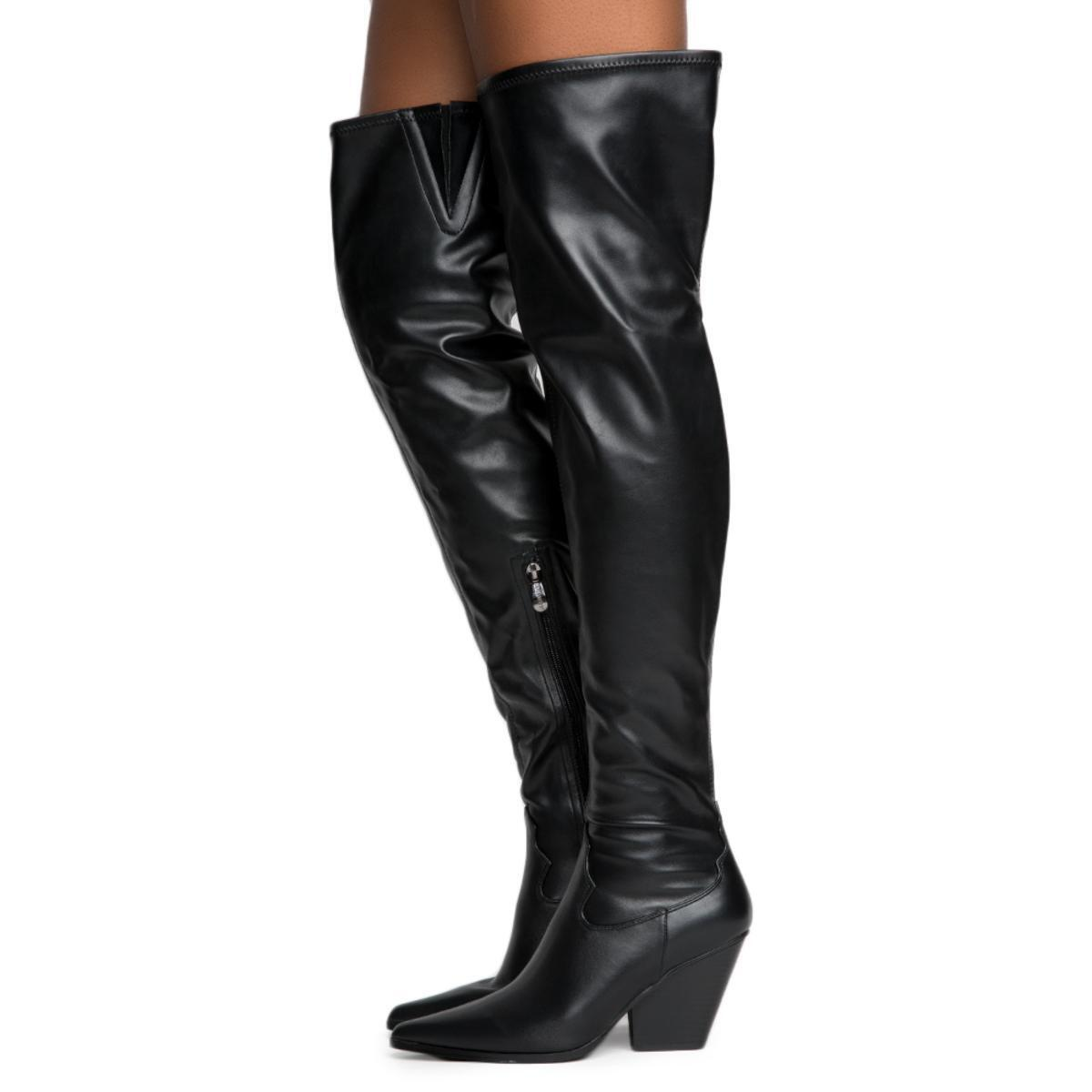 Sexy Black Pointy Close Toe Chunky Heel Thigh High Boots Cape Robbin Kelsey-9 10