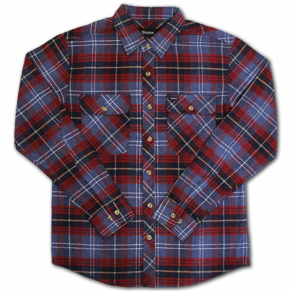 Brixton Bowery Flannel L S Shirt Navy Plaid