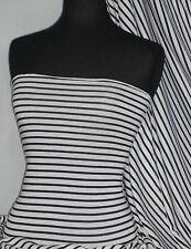 Horizontal stripe black / white 100% viscose stretch fabric Q1312 BKWHT