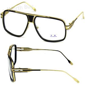 f34ff88699 Black Gold DMC Square Gazelle Hip Hop Clear Lens Frame Glasses ...