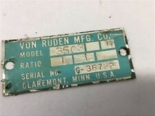 Von Ruden 3505b Gear Reducer 11 Ratio 1 Inletoutlet Right Angle